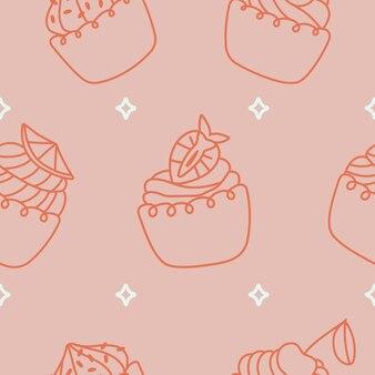 Verschillende cupcakes naadloos patroon