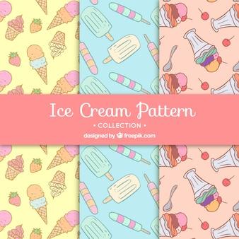 Verschillende decoratieve patronen met ijsjes in handgetekende stijl