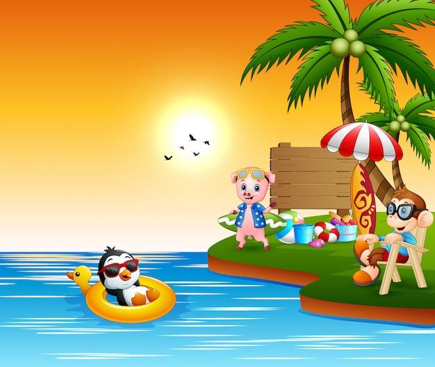 Verschillende dieren cartoon ontspannen op het strand