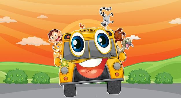 Verschillende dieren in schoolbus
