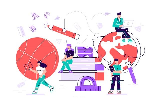 Verschillende disciplines zoals geografie, fysische cultuur, scheikunde, literatuur, taal. leerkrachten personages met leermiddelen en briefpapier als ball globe books. cartoon vlakke afbeelding