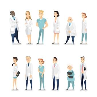 Verschillende dokters ingesteld. mannen en vrouwen in uniform.