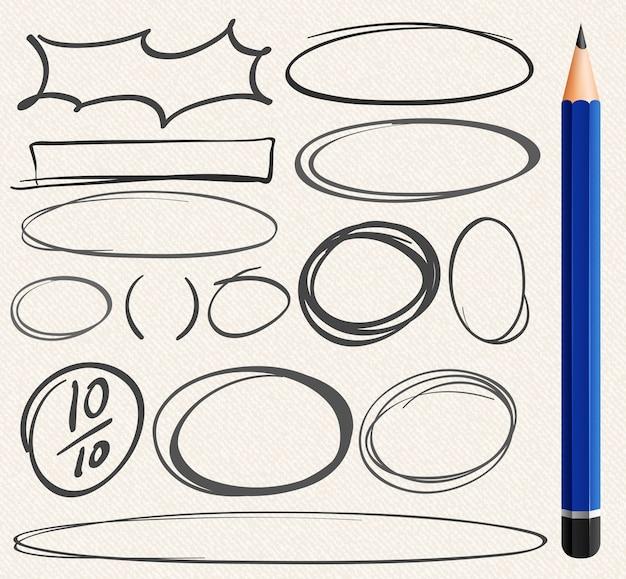 Verschillende doodle van cirkels