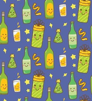 Verschillende drinken kawaii achtergrond