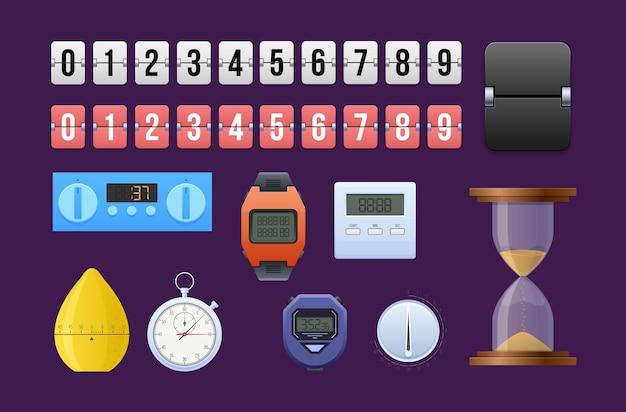 Verschillende elektronische en handmatige timer met getallenlijnset. apparatuur voor het aftellen, het controleren van tijd, deadline, datum, evenement met indicatorinformatie. polshorloge, stopwatch, zandloper vector plat