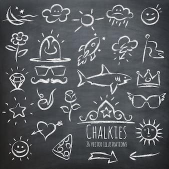 Verschillende elementen getekend op een schoolbord