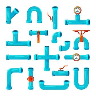 Verschillende elementen voor pijpleidingen. teller, watermeter, strips.