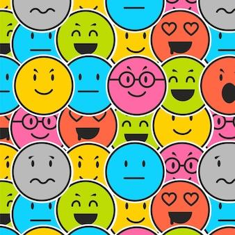 Verschillende emoticons patroon sjabloon