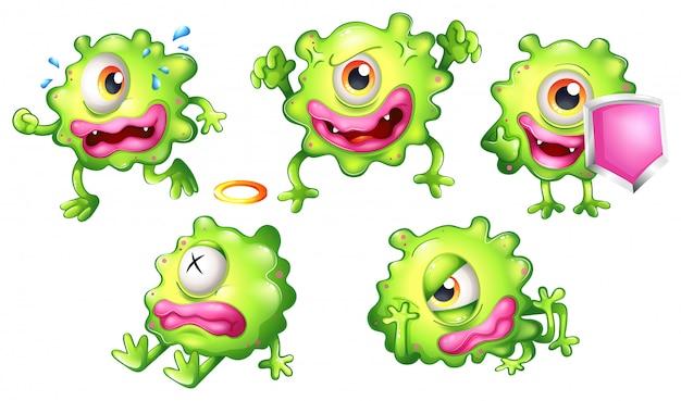 Verschillende emoties van een groen monster Premium Vector