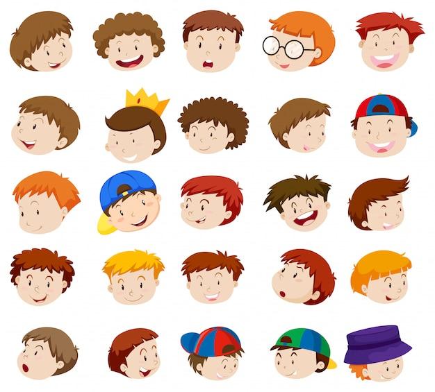 Verschillende emoties van kleine jongens