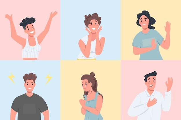 Verschillende emotionele uitdrukkingen egale kleur gedetailleerde tekenset