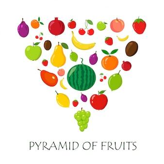 Verschillende exotische en eenvoudige vruchten op witte achtergrond