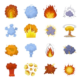 Verschillende explosie cartoon elementen. explosie en exploderen vectorillustratie.