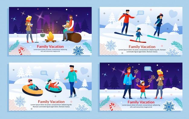 Verschillende familie-entertainment op vakantie sjabloon set