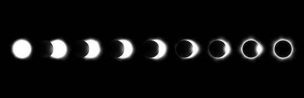 Verschillende fasen van zons- en maansverduistering