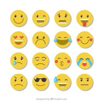 Verschillende flat expressieve emoticons