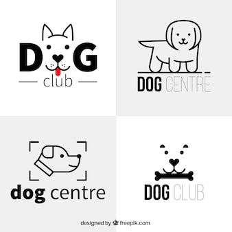 Verschillende flat hond logo's in minimalistische stijl