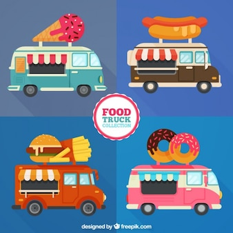 Verschillende food trucks in plat design