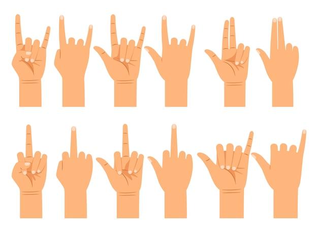 Verschillende gebaren van emoties en tekens plat