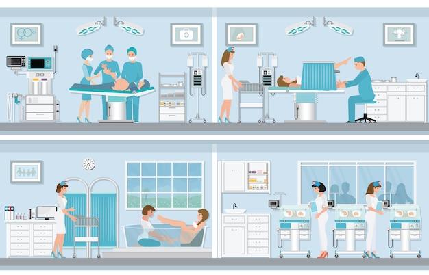 Verschillende geboorte van zwangere vrouw.