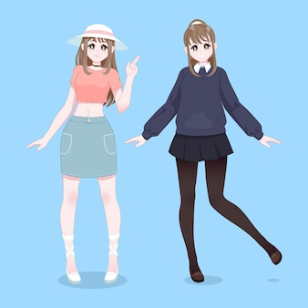 Verschillende gedetailleerde anime-personages