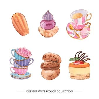 Verschillende geïsoleerde aquarel dessert illustratie
