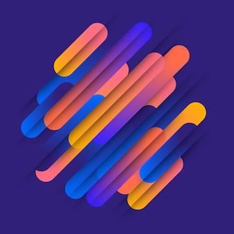 Verschillende gekleurde afgeronde vormenlijnen in diagonaal ritme. illustratie van dynamische compositie. motion graphic geometrisch element.