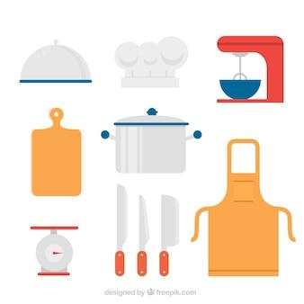 Verschillende gekleurde chef-kokobjecten in vlakke vormgeving