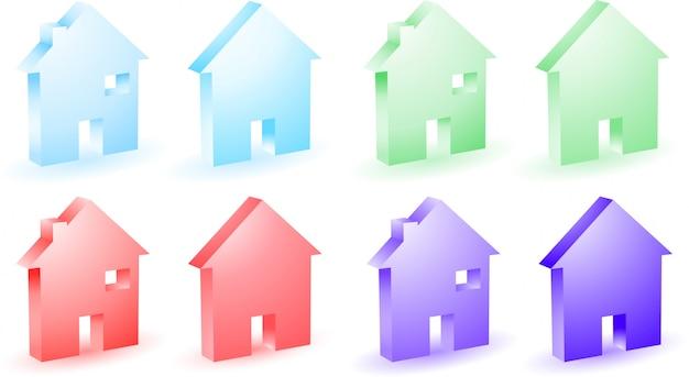 Verschillende gekleurde huis iconen