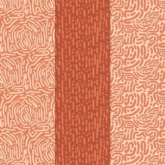Verschillende gekleurde patronen met afgeronde lijnen
