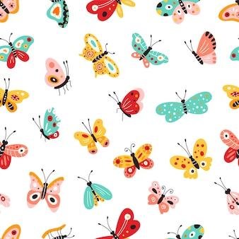 Verschillende gekleurde vlinders. patroon