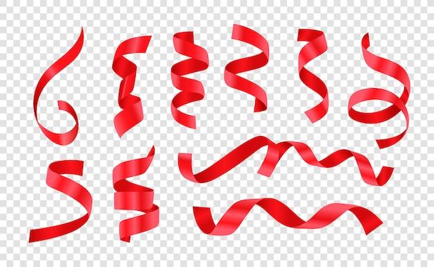 Verschillende gekrulde rode satijnen linten vector set geïsoleerd op transparante achtergrond