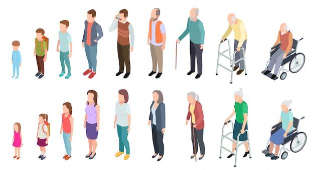 Verschillende generaties. isometrische mensen volwassen vrouwelijke mannelijke personages kinderen meisje jongen oude man vrouw menselijke leeftijd evolutie stadia ingesteld