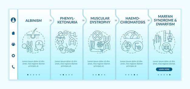 Verschillende genetische aandoeningen aan boord van vectorsjabloon. responsieve mobiele website met pictogrammen. webpagina walkthrough 5 stappen schermen. kleurconcept overgeërfde fysieke conditie met lineaire illustraties