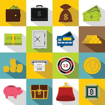 Verschillende geplaatste geldpictogrammen, vlakke stijl