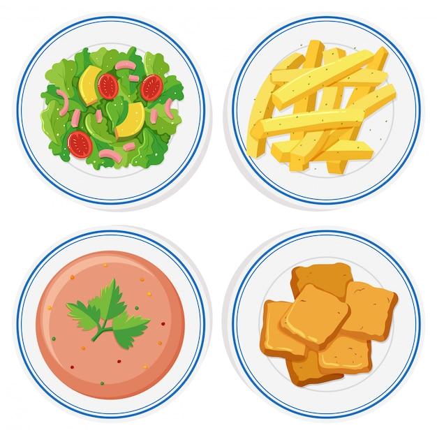 Verschillende gerechten op de borden