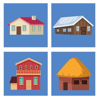 Verschillende gevels van huizen