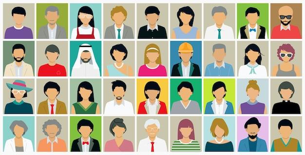 Verschillende gezichten van mensen die zowel mannen als vrouwen hebben.