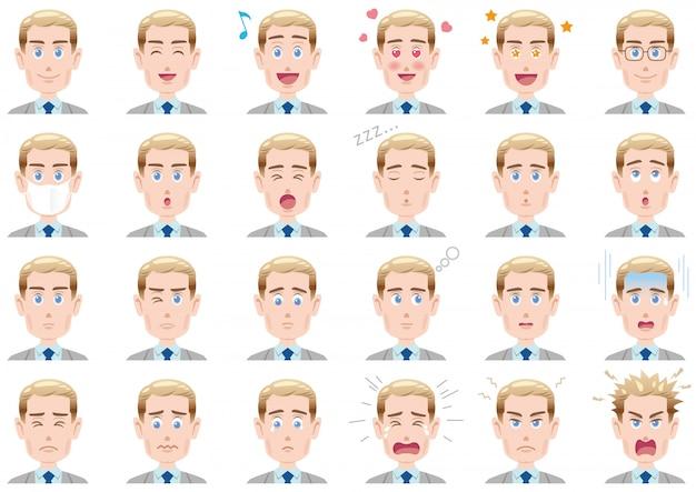 Verschillende gezichtsuitdrukkingen van de zakenman geplaatst
