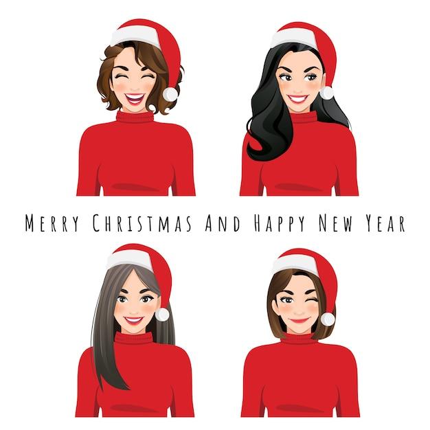 Verschillende gezichtsuitdrukkingen vrouwelijke set in christmas santa hat