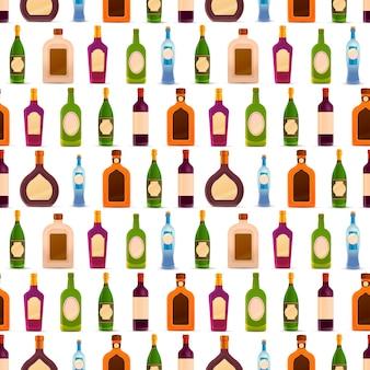 Verschillende glanzende flessen met alcohol op een rij op wit, naadloos patroon