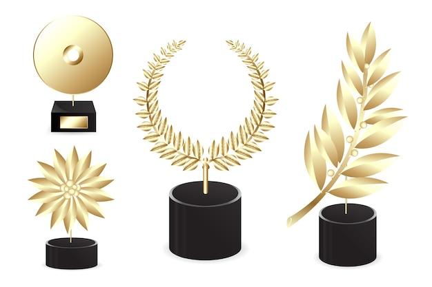 Verschillende gouden toekenning, die op wit wordt geïsoleerd