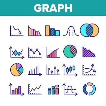 Verschillende grafiek teken icons set