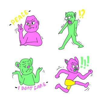 Verschillende grappige karaktersstickers met zure kleuren