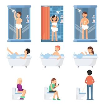 Verschillende grappige mensen nemen een douche in de badkamer. vectorafbeeldingen in vlakke stijl