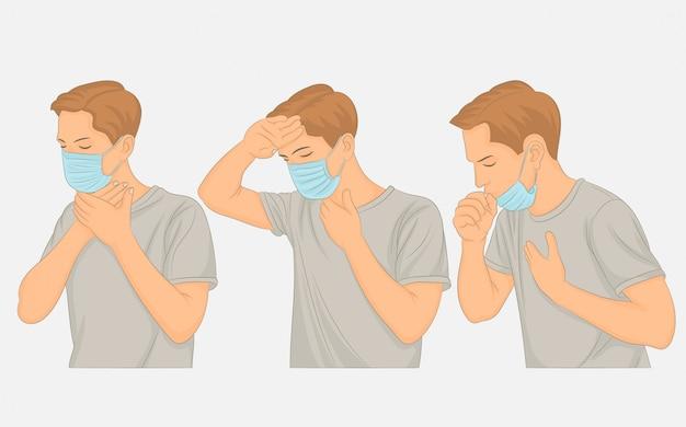 Verschillende griepsymptomen, koorts, hoest, pijn.