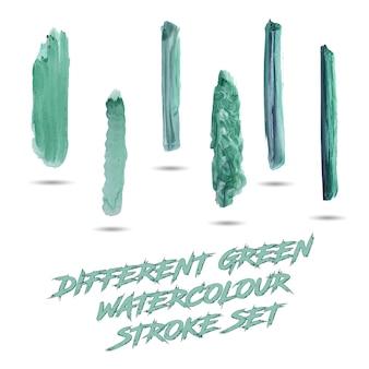 Verschillende groene aquarel beroerte set