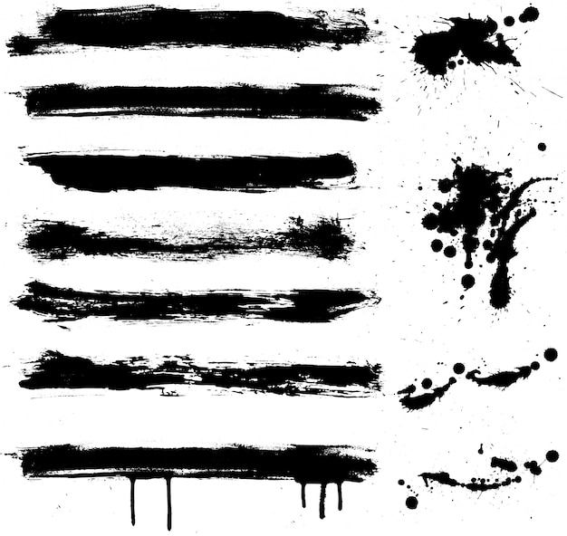 Verschillende grunge-elementen met markeringen en druppels