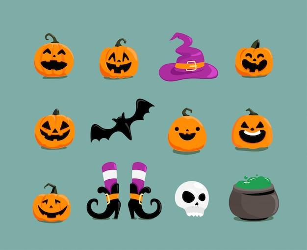Verschillende halloween-elementen clipart