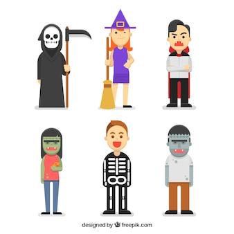 Verschillende halloween karakters in vlak ontwerp